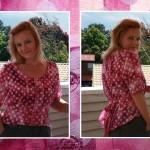 Roze stippenblouse