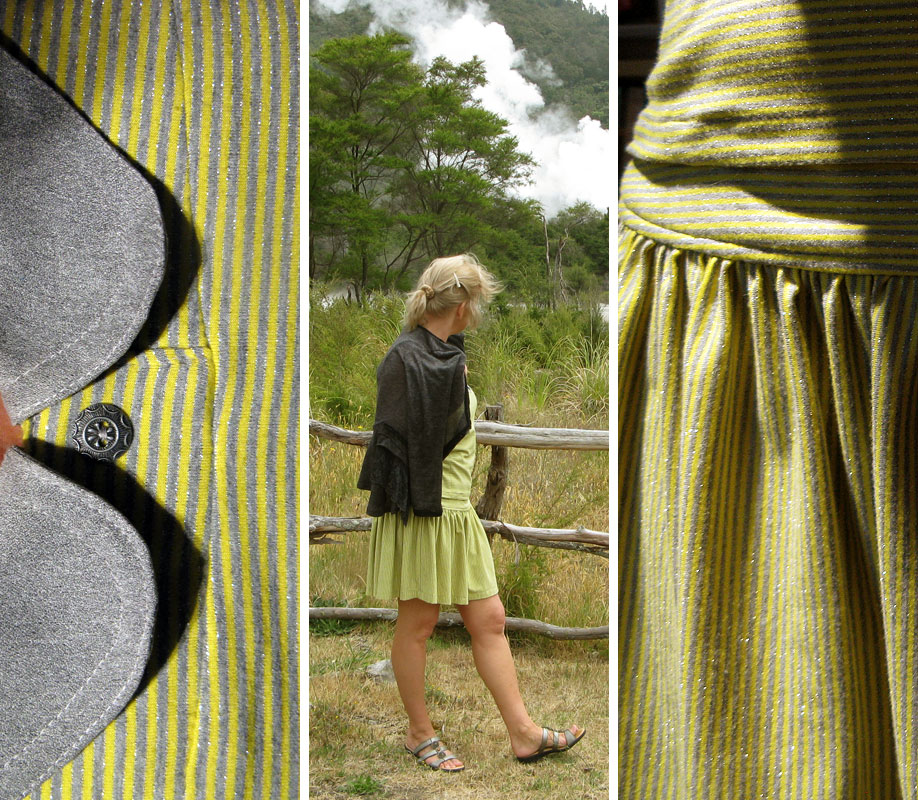 Grijsgeel hemdje, rokje, Grey and yellow striped top and skirt