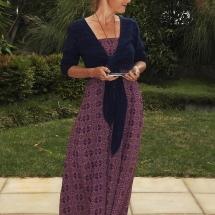paarse smock jurk met vestje